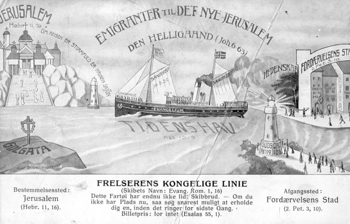 """Postkort med påskrift: """"Emigranter til det nye Jerusalem""""."""