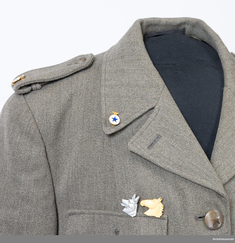 Jacka sydd i grå yllediagonal med märken och knappar för Svenska Blå Stjärnan. Ovanför höger bröstficka ett märke för kompetens i hundsjukvård och märke för genomgången kurs i hästsjukvård. Till jackan hör ett skärp i samma tyg.