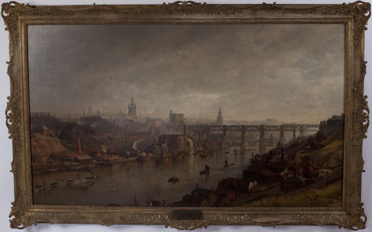 Maleri fra Newcastle havn. Ser skipsverft, bro, kirketårn og mindre fartøyer.