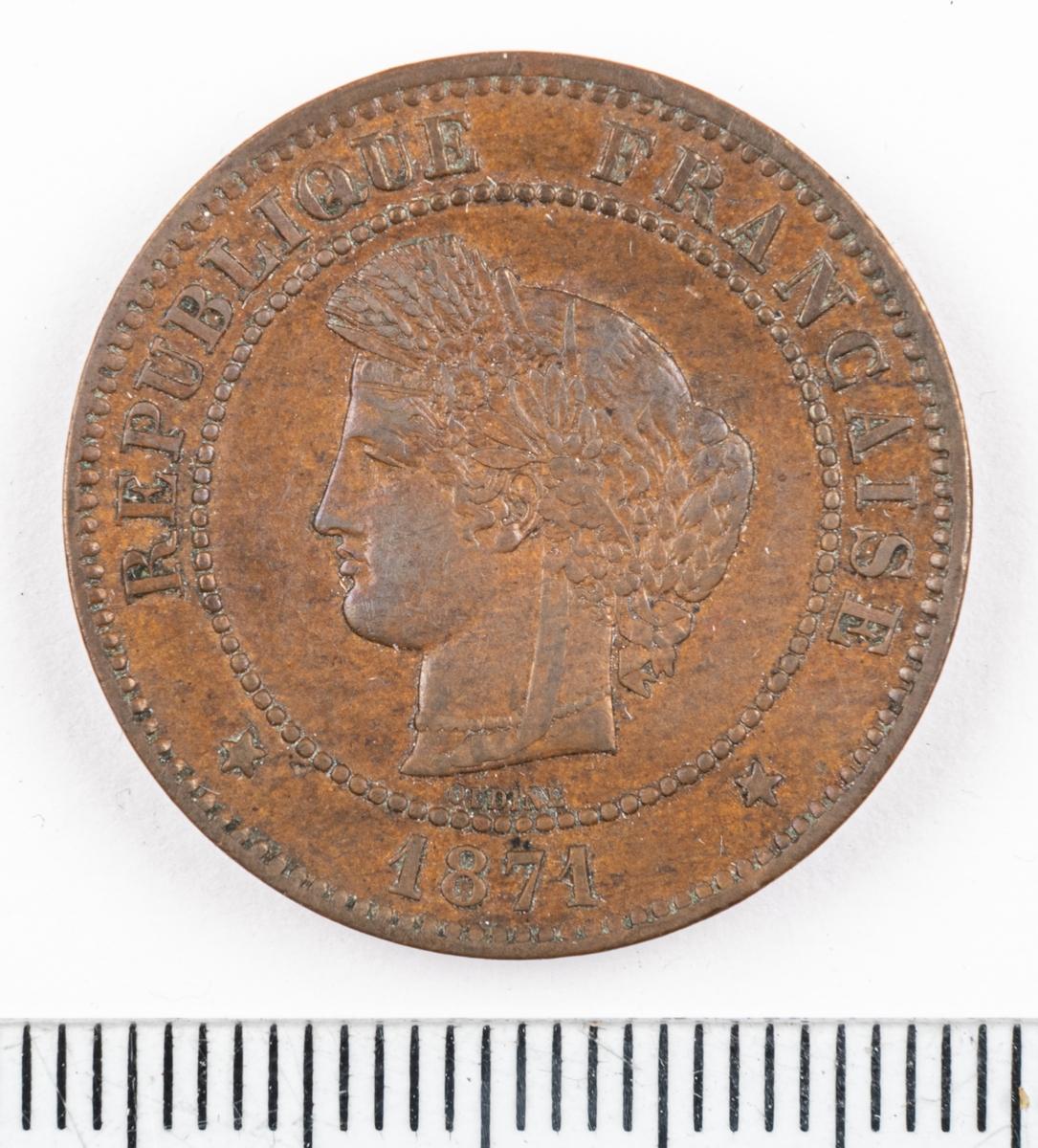 Mynt Frankrike 1871 5 Centimes.