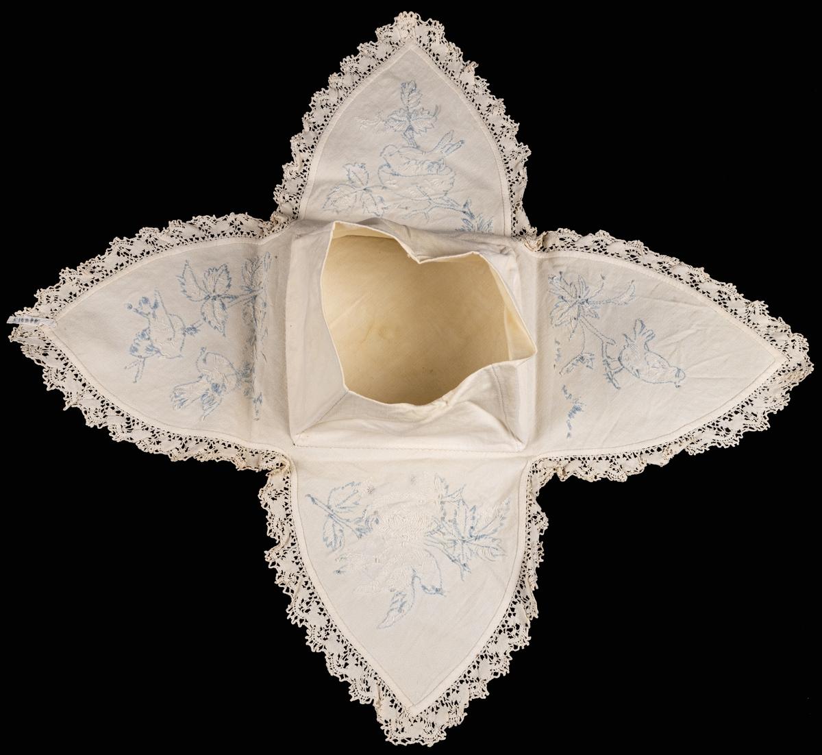 Äggfodral, vitt, broderat med vitt och ljusblått, i kanten spets.