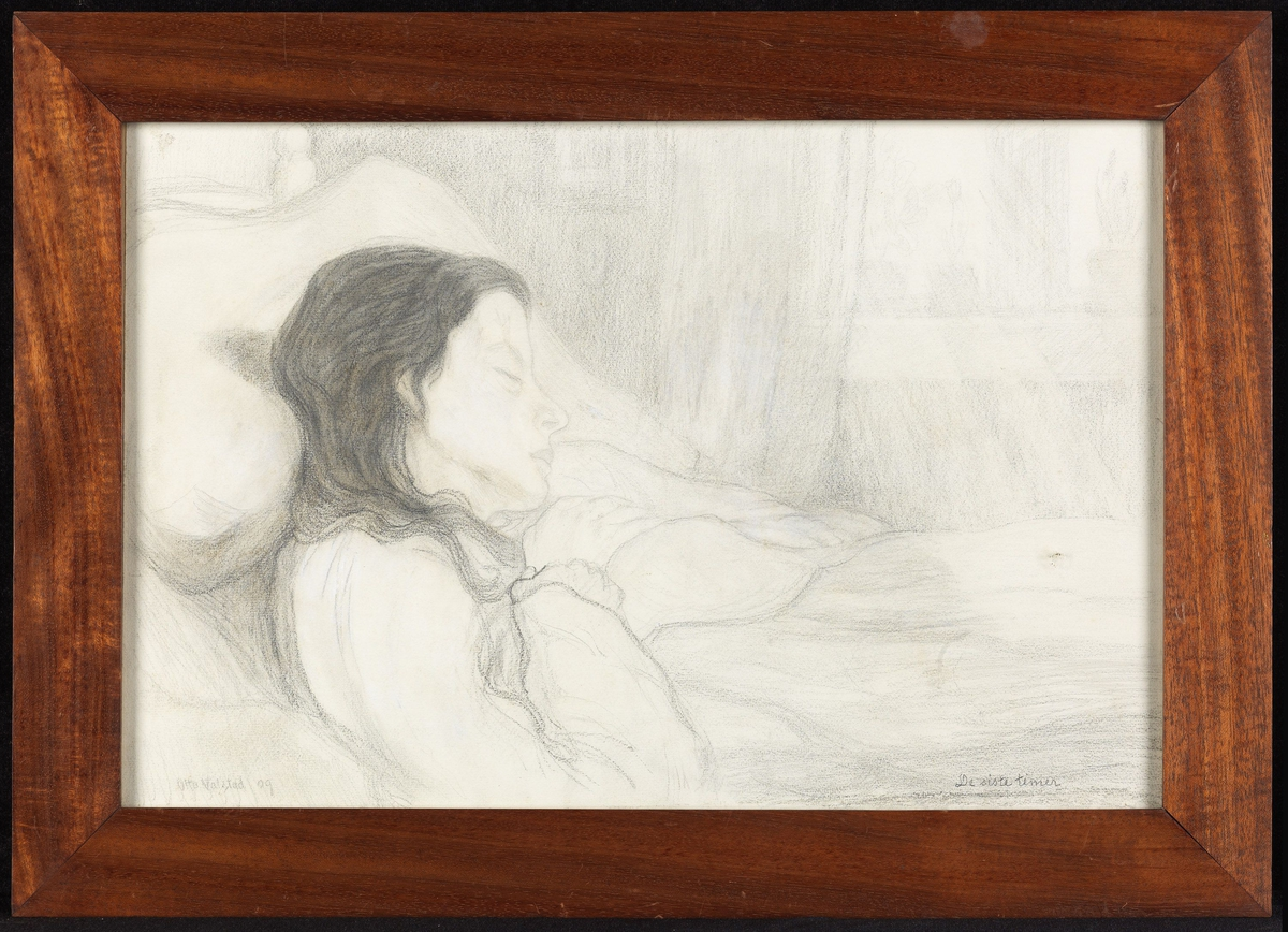 Kvinne, liggende i sengen, detalj, hode i profil,  lukkede øyne.