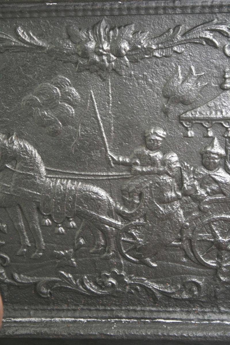 Kammersvenden fra Morland på langside, Jesu dåp på kortside.