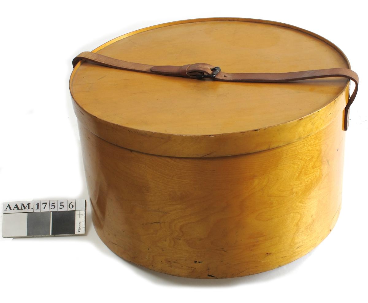 Hattetine fra siste del av 1800-årene.  Lysbeiset   finer.  Stor rund, rettsidet  tine med brun  rem over lokket. På siden festet etikett  fra skip eller jernbane:   Tilstand: god.