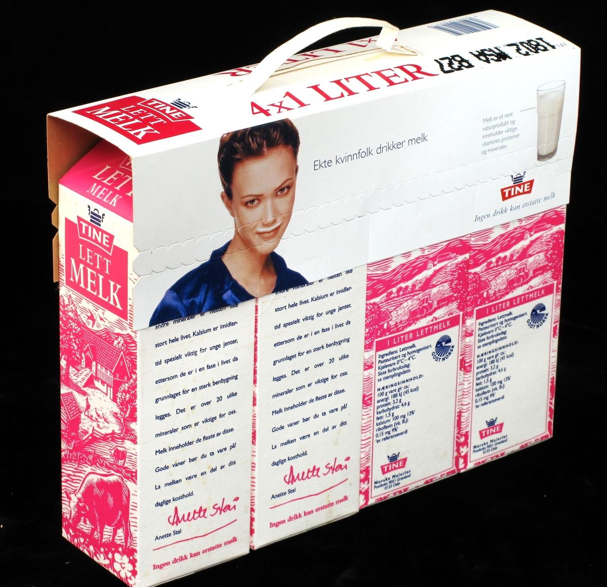 På bærehanken bilde av en kvinnelig fotomodell med melkebart, et glass melk og Tines logo.