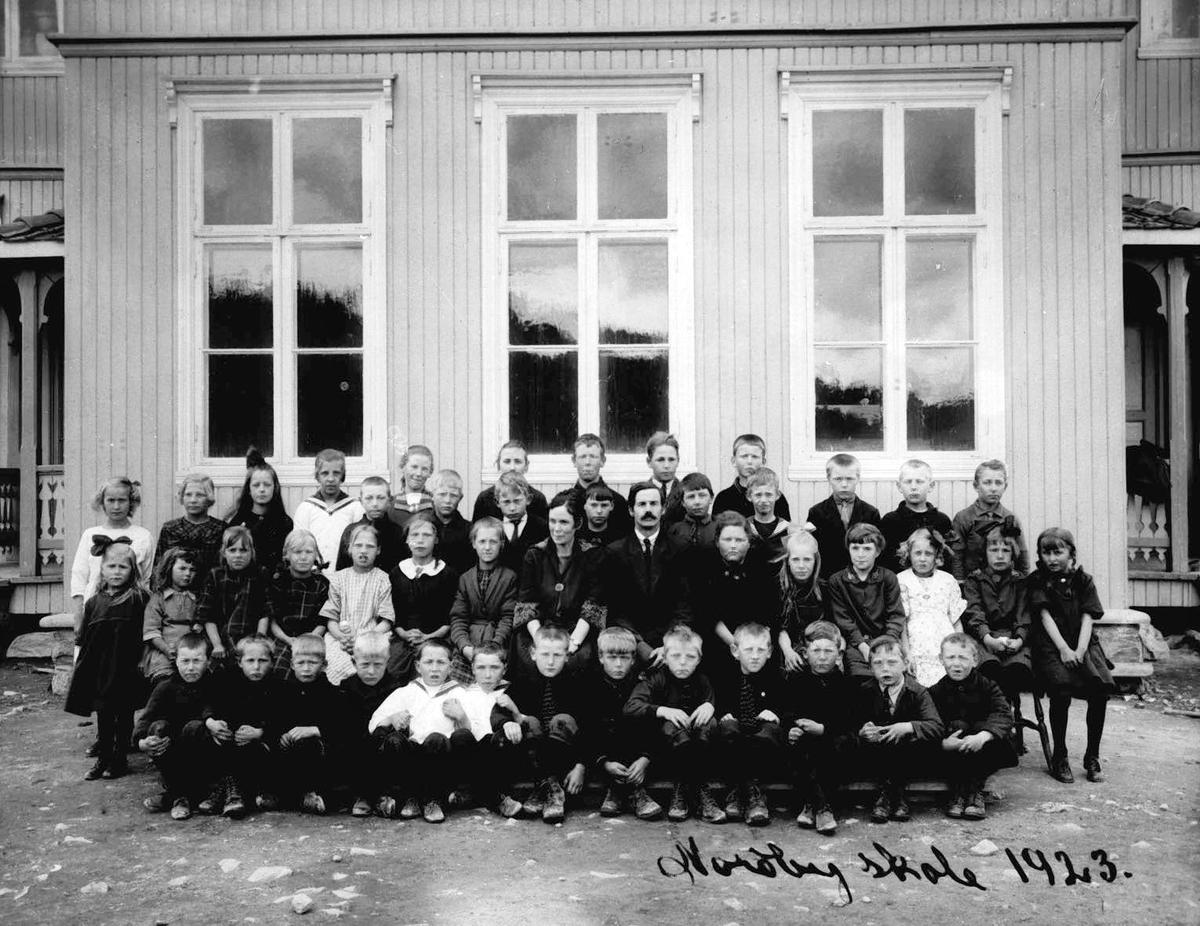 Klassebilde Nordby skole. Elever med lærere.