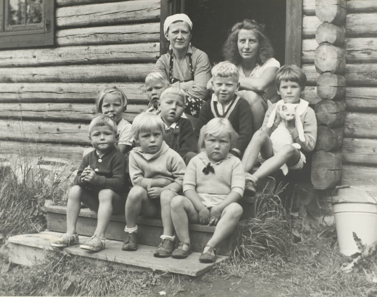Ti personer , to voksne damer og åtte barn sittende på trapp, en katt, tømmerhus