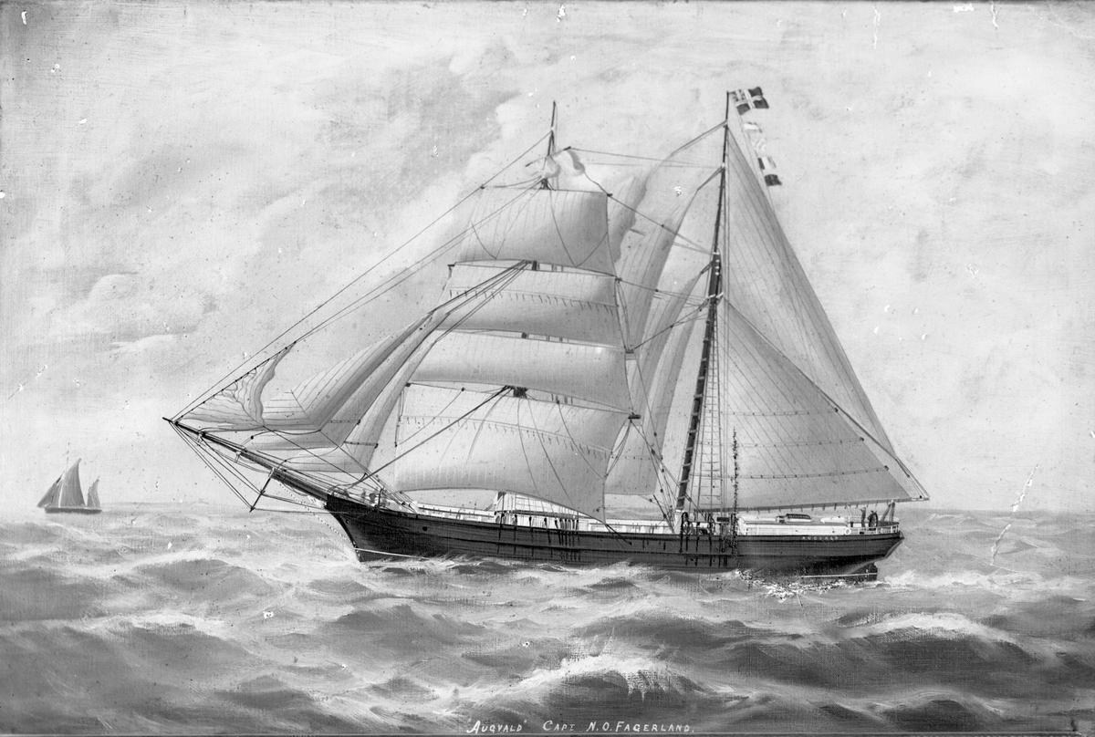 """Avfotografert maleri av skonnertbriggen  """"Augvald"""" for fulle seil, med et mindre skip i bakgrunnen."""