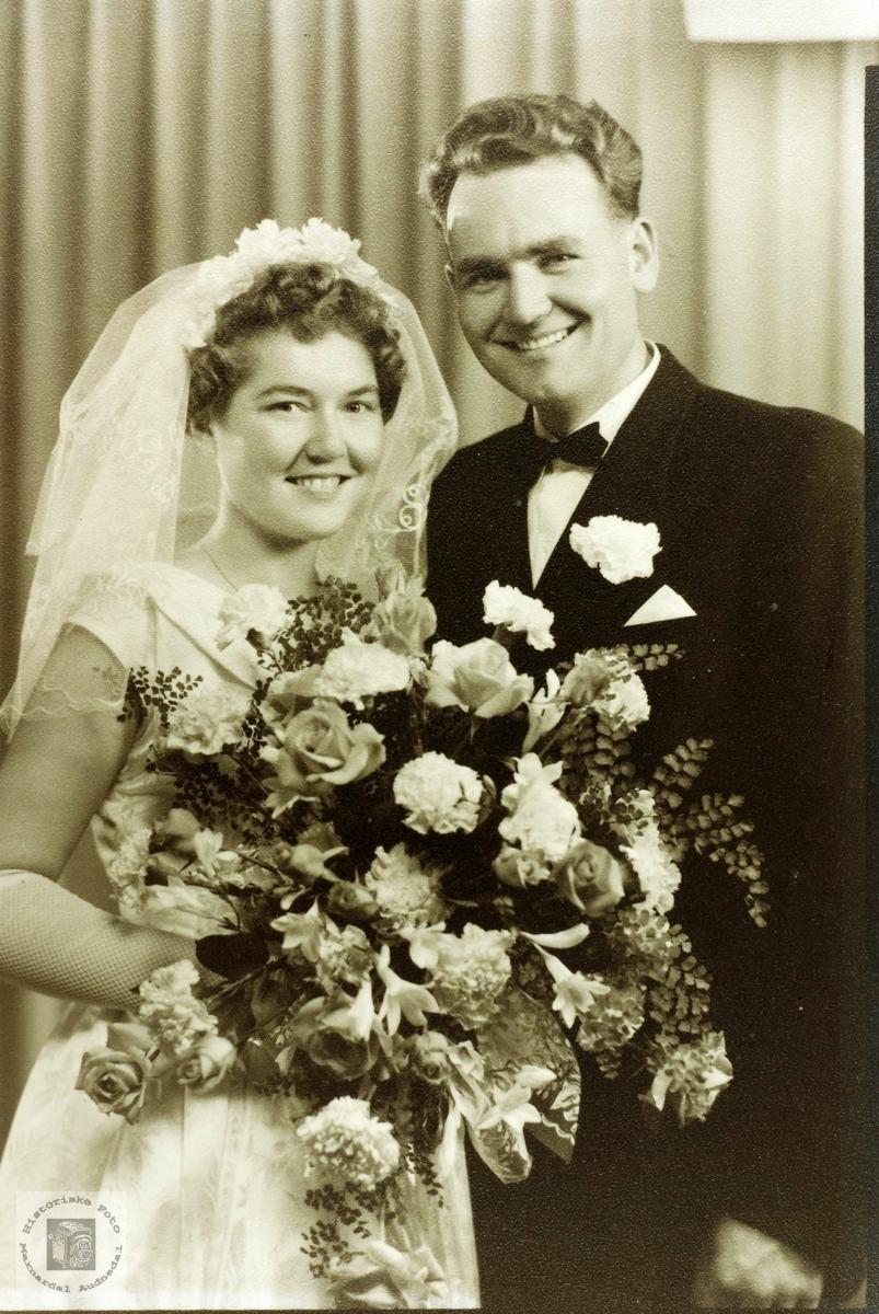 Brudebilde av Ruth og Tormod Gullsmedmoen. Audnedal.