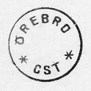 Datumstämpel, normalstämpel 59. Rund med heldragen ram, groteskstil, förkortat årtal under datum. Stamp av stål, träskaft med mässingring. Text ÖREBRO överst därunder CST omgivet av två streckstjärnor. Stämpeln användes under åren 1933 - 1953 på Örebro centralstation, Närke.