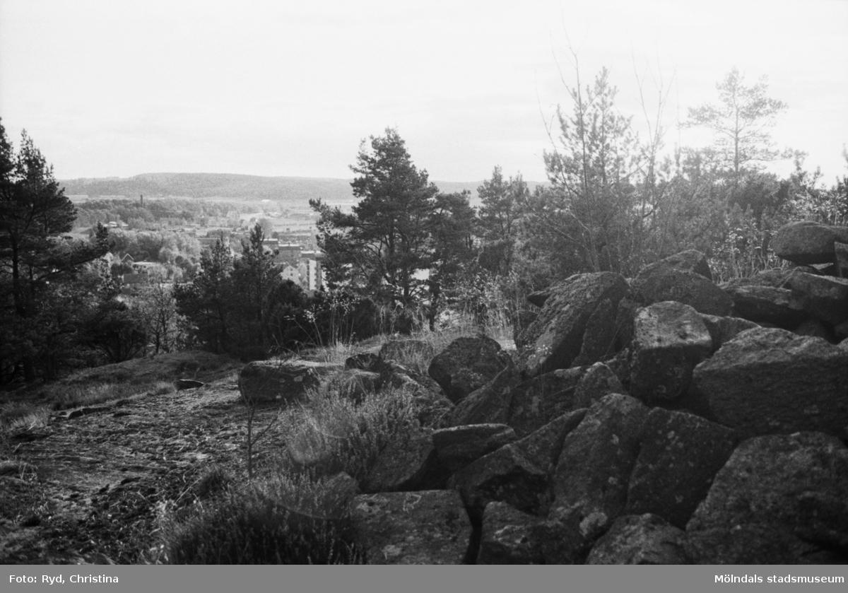 Gravröse på sydöstra hörnet av Safjället eller Toltorpsberget (ovanför Bifrostgatan) år 1991. R 20 Röse.