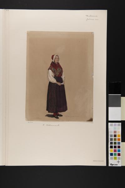 Kvinna i dräkt. Akvarell av P Södermark
