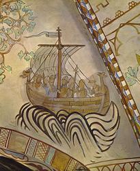 Prospektkort av Middelalderlig fartøy av type vikingeskip.