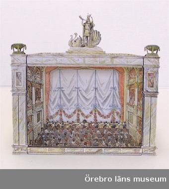 """Teatern trycktes första gången 1914 i """"Allers"""" tidning. Har ett fördjupat proscenium.Scen med ridå: 1-2Anm: fler uppgifter finns som bilaga till NFV blankett, huvudliggare och bilagemappen."""