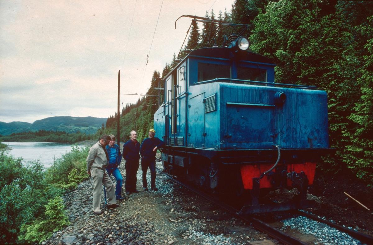 Prøvekjøring av elektrisk lokomotiv nr. 5, i forbindelse med oppstart av ny museumsjernbane.