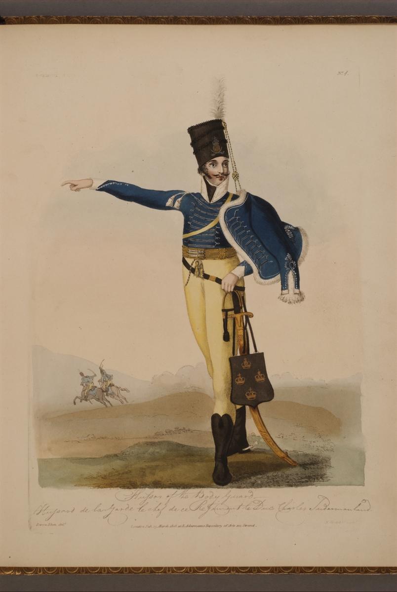 Plansch med uniform för Livregementets husarkår, ritad av Frederic Eben i boken The Swedish Army, utgiven 1808.