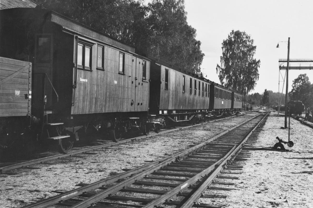 A/L Hølandsbanens veterantog har ankommet Krøderen stasjon.