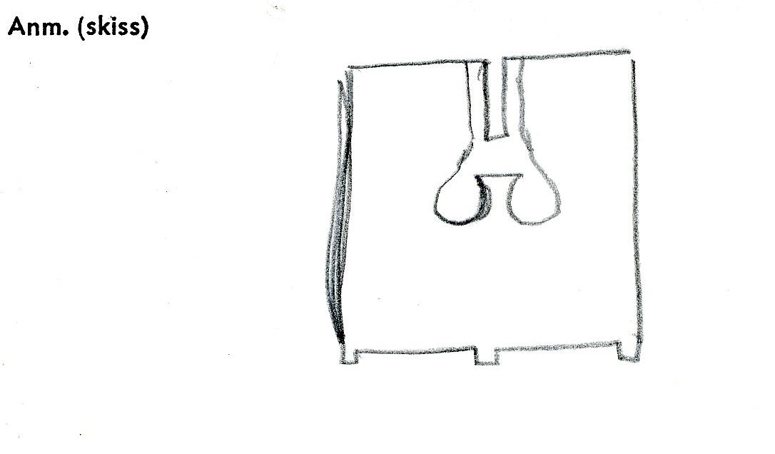 Skrin. På lockets undersida syns urtag för ett kombinationslås. Ett bomärke finns på skrinets ena sida. Eventuellt finns ytterligare ett märke på locket men det är svagt och otydligt.