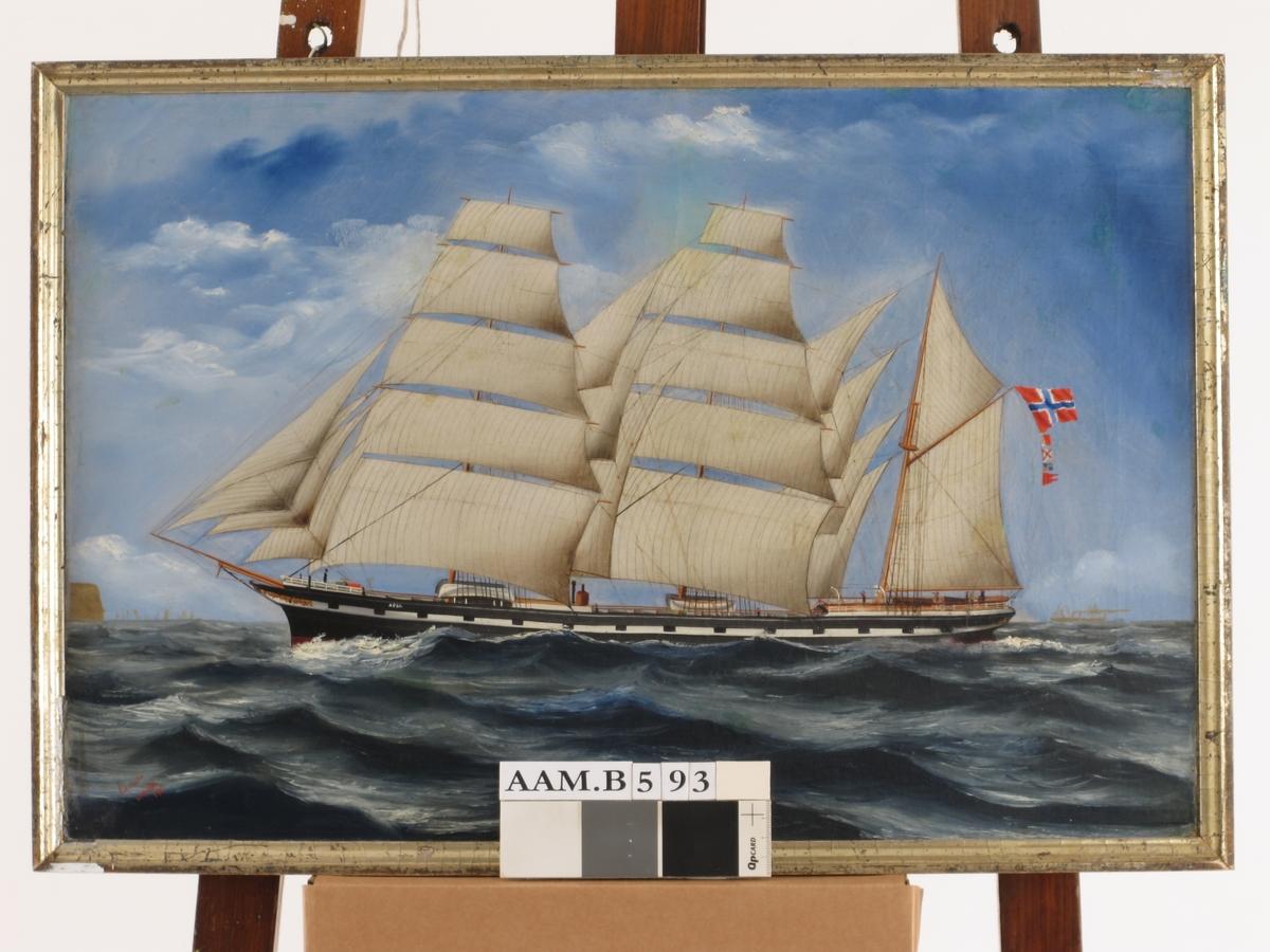 Bark for fulle seil, kurs mot venstre, sort skrog m. kanonporter.