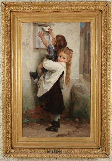 """Oljemålning på duk. """"La boite aux lettres"""" - """"Brevlådan"""". Flicka i brun klänning och vitt förkläde, med långt blont hår, håller  upp en liten pojke i blå kläder, som skall stoppa ett brev i en brevlåda."""