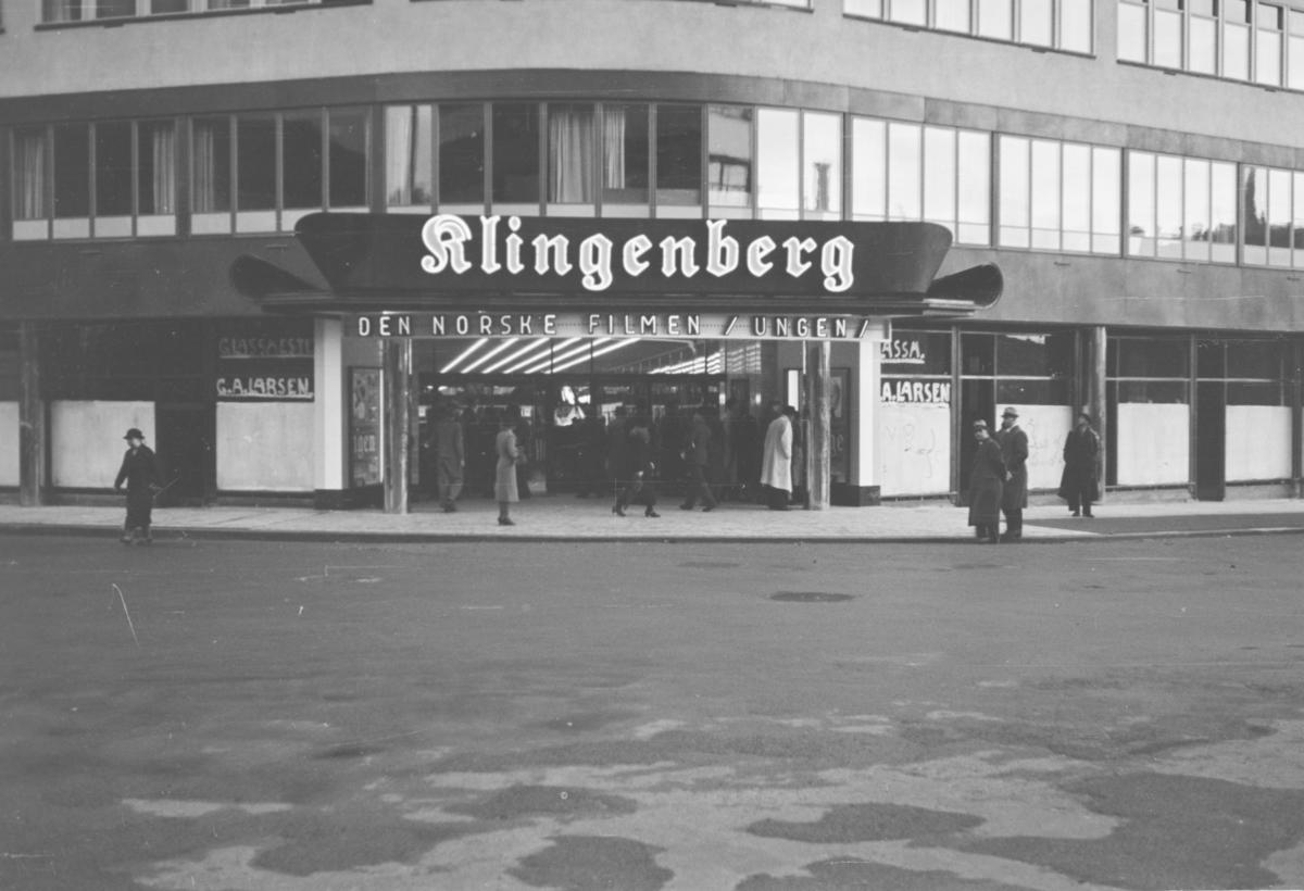 Fra åpningen av Klingenberg kino 6. oktober 1938. Åpningsfilmen var den norske filmen Ungen.
