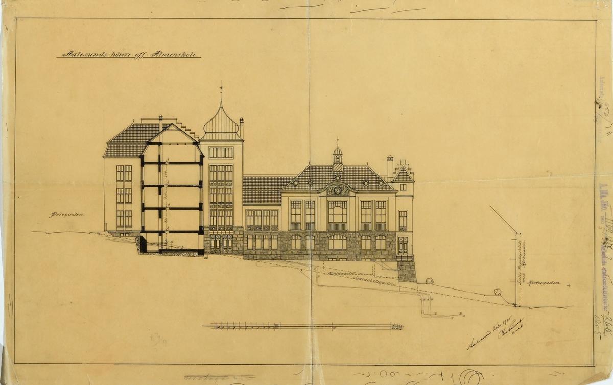 Ålesund offentlige allmueskole [Arbeidstegning]