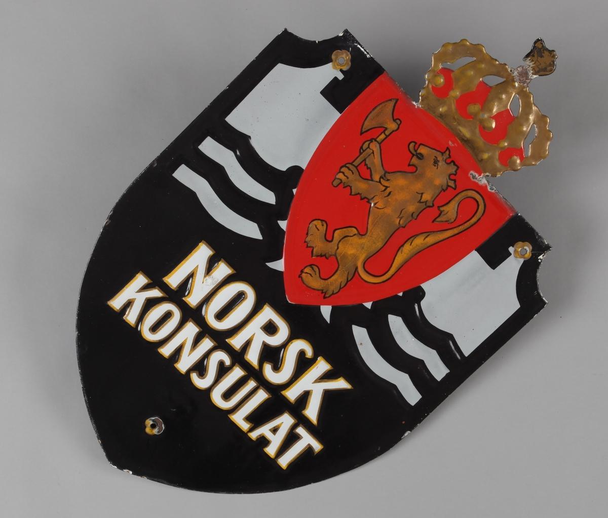 Skilt med det norske riksvåpen motiv.
