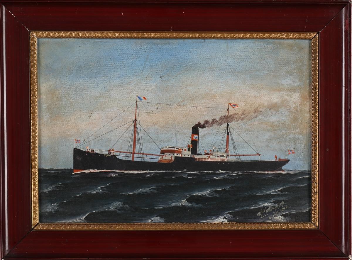 Skipsportrett av DS GARONNE på åpent hav. Med norske flagg akter.