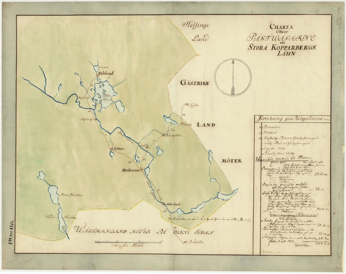 Postkarta över postvägarna i Kopparbergs län under 1700-talets mitt. Kartan visar endast Kopparbergs län, de angränsande länen namnges endast vid sidan om. En förteckning över postgårdar med diverse andra postala anteckningar finns på kartan. Dessa har senare undertecknats av postinspektören i Falun, Westlien 1753-10-11. Kartan är ritad och kolorerad för hand.