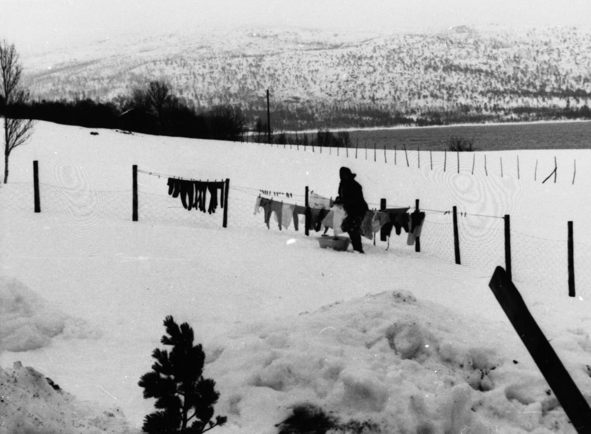 Marie Edwards henger opp klær. Tranøy i 1964.
