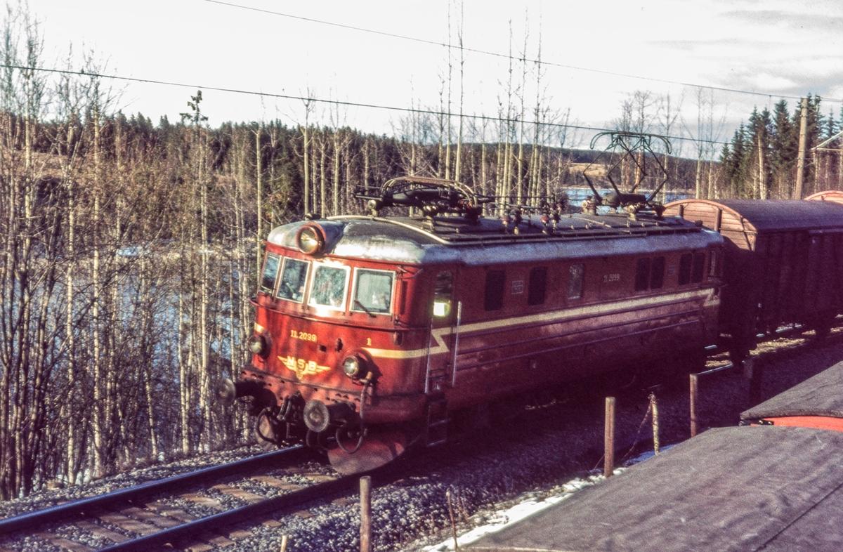 Godstog fra Kongsvinger til Oslo passerer ved Bingsfoss mellom Blaker og Sørumsand. Toget trekkes av elektrisk lokomotiv El 11 2099.