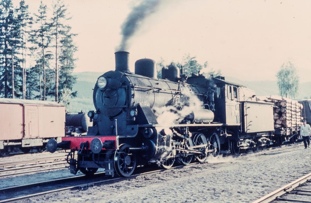 Godstog på Dokka stasjon. Toget trekkes av damplokomotiv type 24b nr. 195. Lokomotivet ble benyttet på Valdresbanen og Skreiabanen.