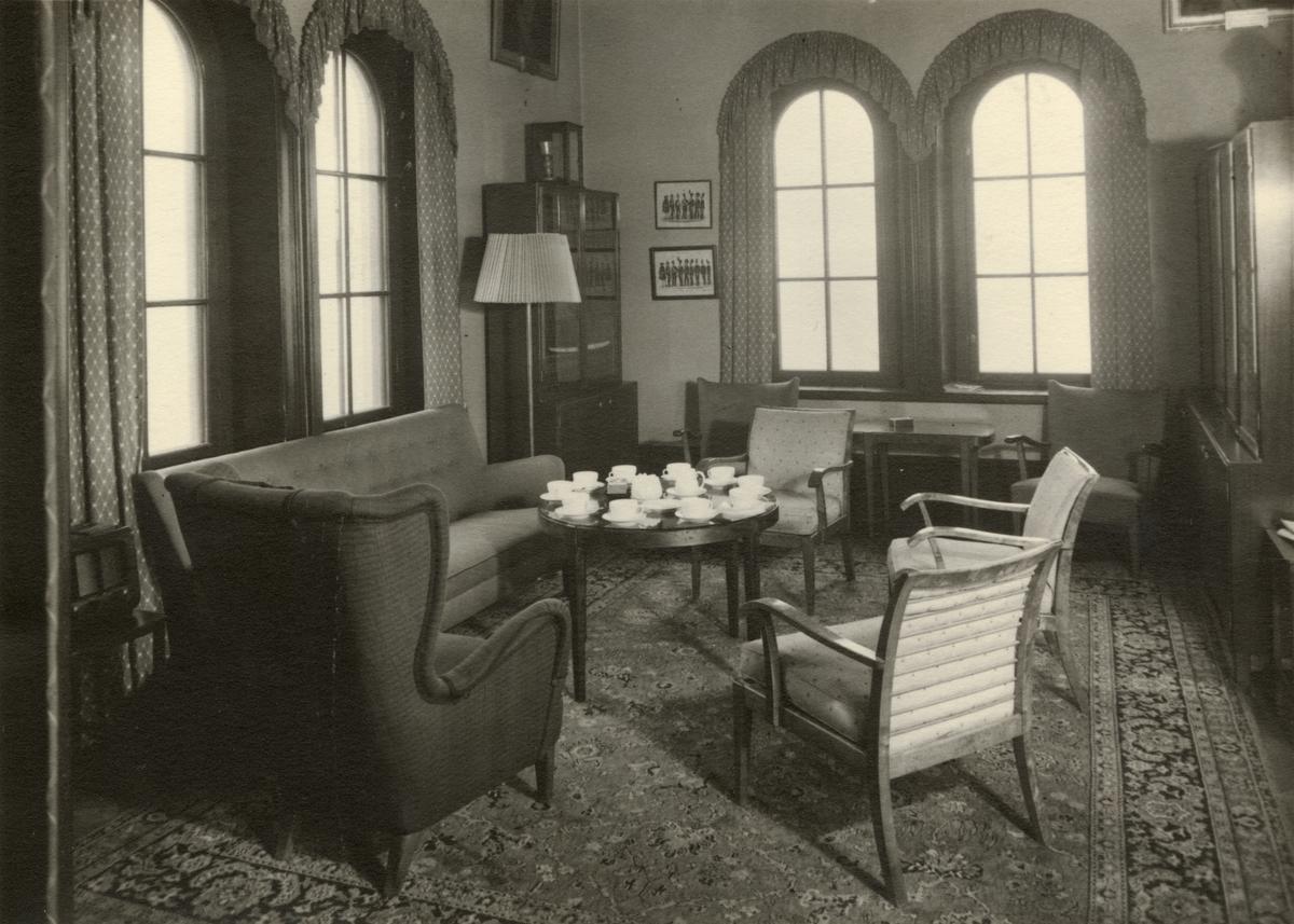 Biblioteket i officersmässen, Svea artilleriregemente A 1, våren 1947.