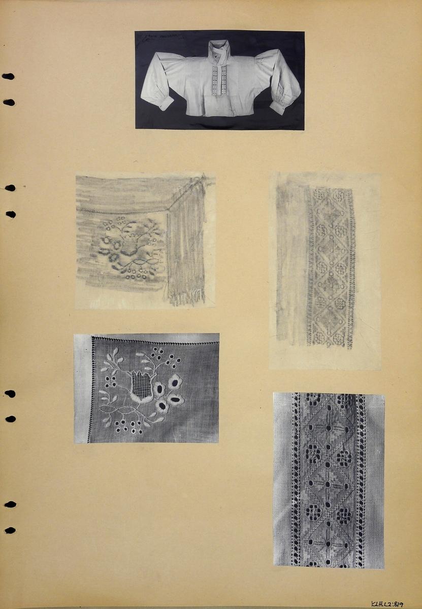Kartongark två frottage och tre fotografier av opplödd