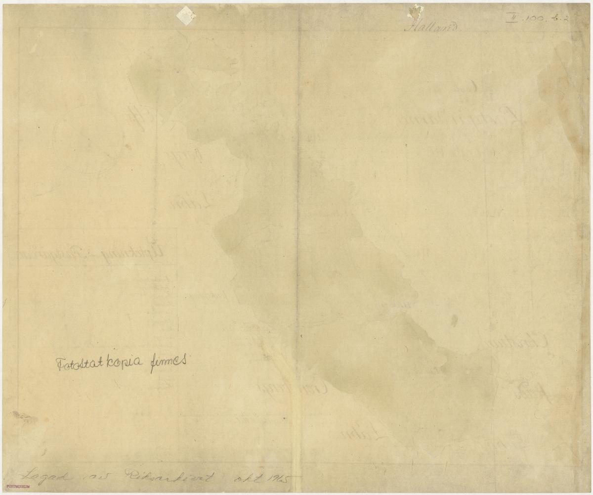 Postkarta över postgårdarna i Halland under 1700-talets mitt. Kartan visar endast Halland, de angränsande länen namnges endast vid sidan om. En förteckning över postgårdar finns i nedre högra hörnet. Kartan är ritad och kolorerad för hand.