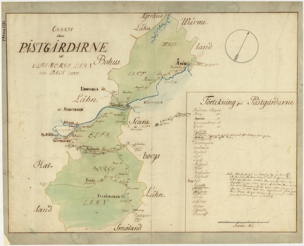 Postkarta över postgårdarna i Älvsborgs län och Dalsland under 1700-talets mitt. Kartan visar endast dessa områden, de angränsande länen namnges endast vid sidan om. En förteckning över postgårdar finns i nedre högra hörnet. Kartan är ritad och kolorerad för hand.