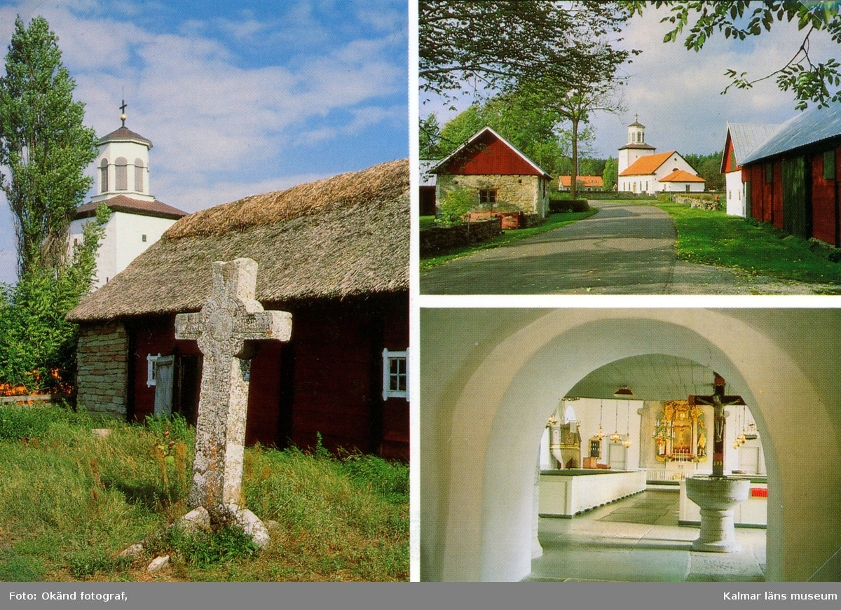 Vykort över Föra kyrka och Martinuskorset.
