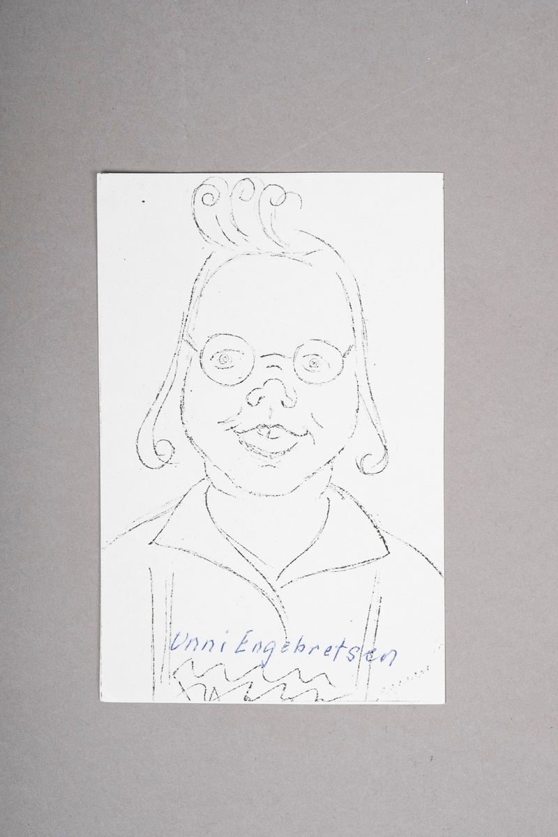Kopi av portrett-tegning av Unni Engebretsen. Portrettet (originalen) er tegnet med blyant eller penn, og er i svart-hvitt.