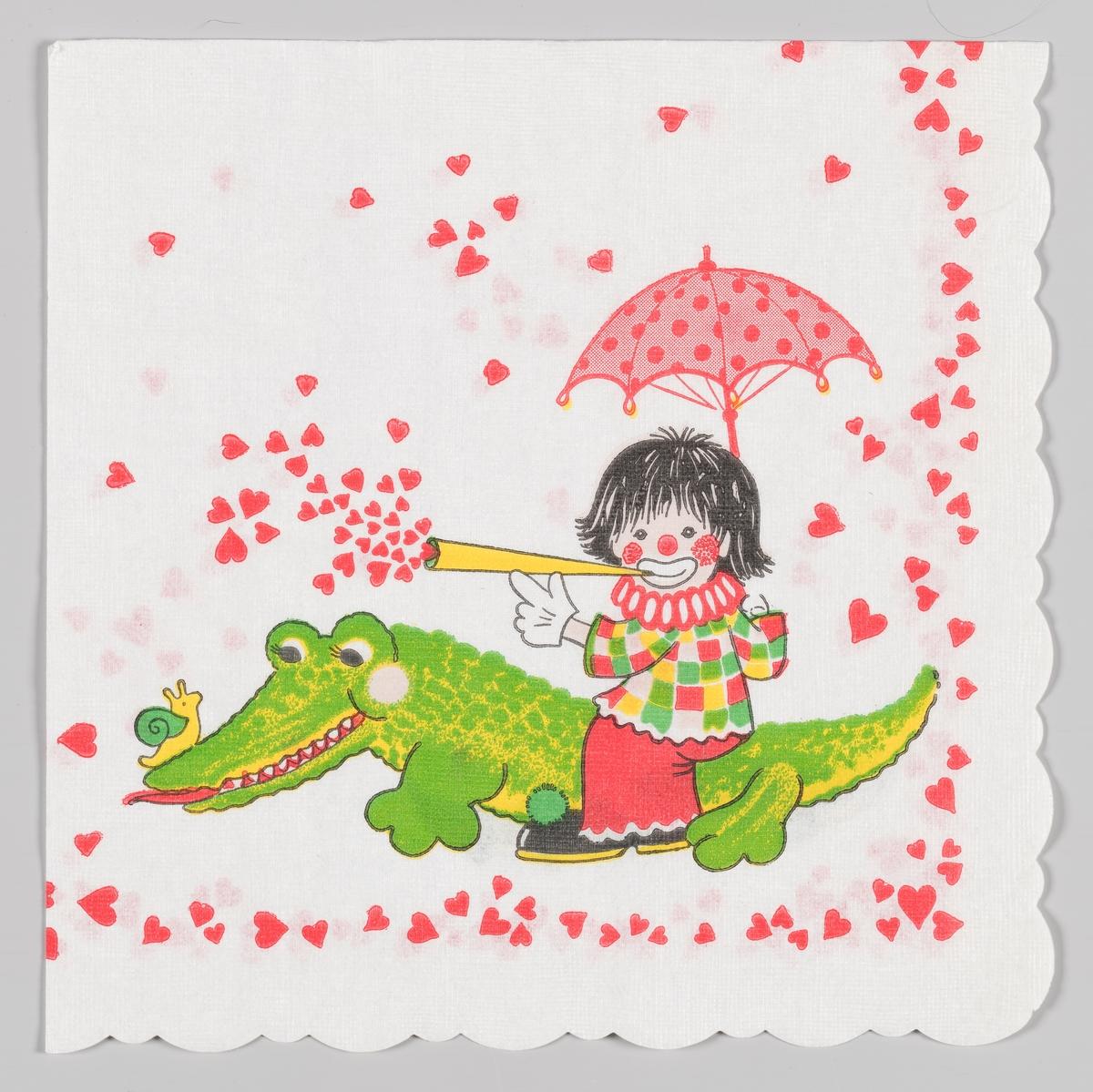 En klovn som sitter med paraply og blåser hjerter ut av et tutehorn. Klovnen sitter på en krokodille som har en snegle på snuten. Langs kanten er det masse hjerter.