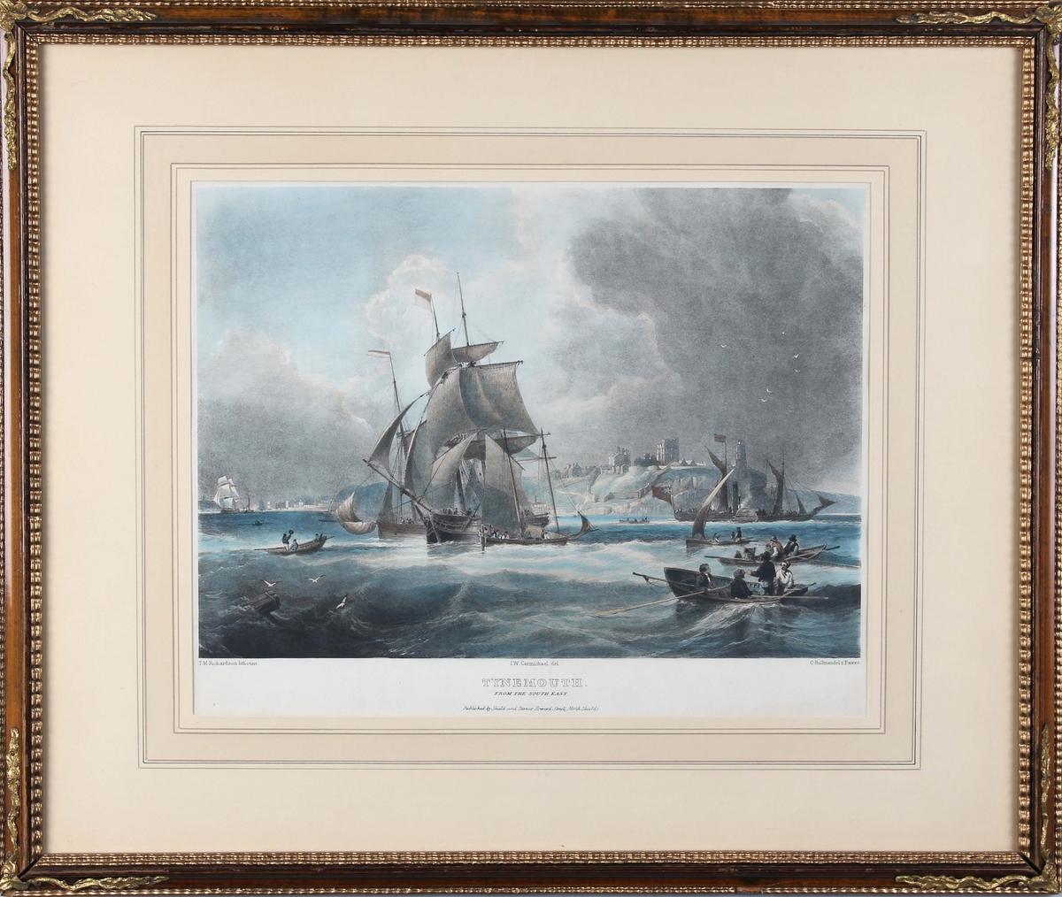 Trykk fra Tynemouth, sett fra sør-øst. Ser flere seilfartøyer, hjuldampskip og robåter, samt havnen i bakgrunn.