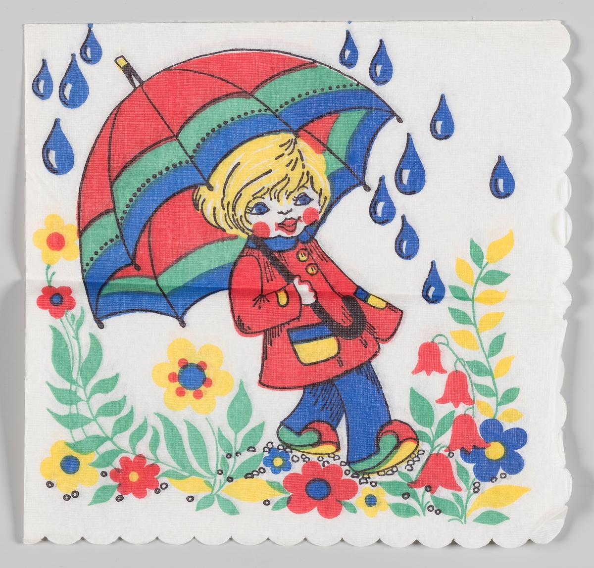 Et barn går med paraply og regnfrakk i en blomstereng i regnvær.