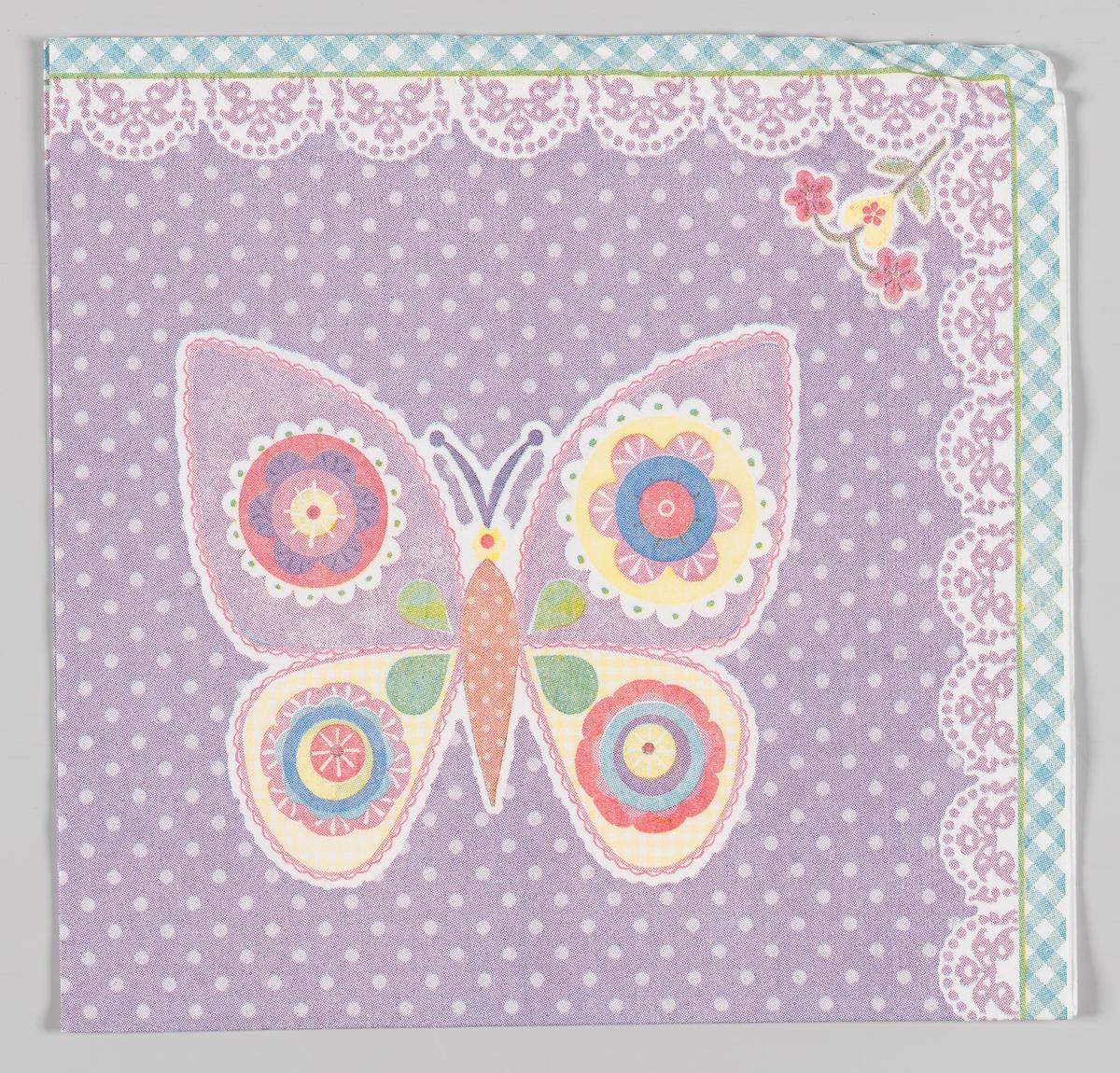 En sommerfulg og en liten blomst  Samme motiv på serviett MIA.00007-003-0129