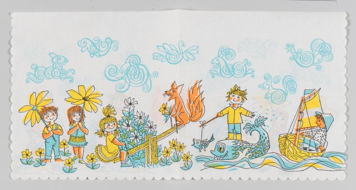En jente og en gutt som står med to digre blomster. En jente og en rev på en vippe. En gutt som står på en står fisk med en liten fisk på en stang. en gutt som sitter i en seilbål. På himmelen forskjellige dyrefigurer.