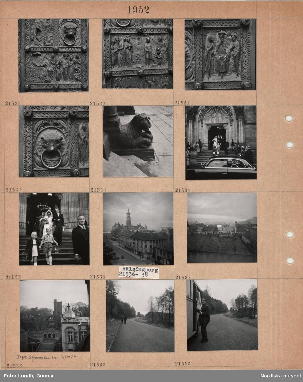 """Motiv: (ingen anteckning) ; """"Bremen 21517 - 535"""", en utsmyckad dörr, en skulptur, ett bröllopspar med följe går ned för en trappa vid en kyrka till en bil, """"Hälsingborg 21536 - 38"""" (Helsingborg), stadsvy med Helsingborgs rådhus, stadsvy med Kärnan i bakgrunden, """"Trpt. Spanien se 21604"""", två personer går på en väg, en man går in i en buss."""