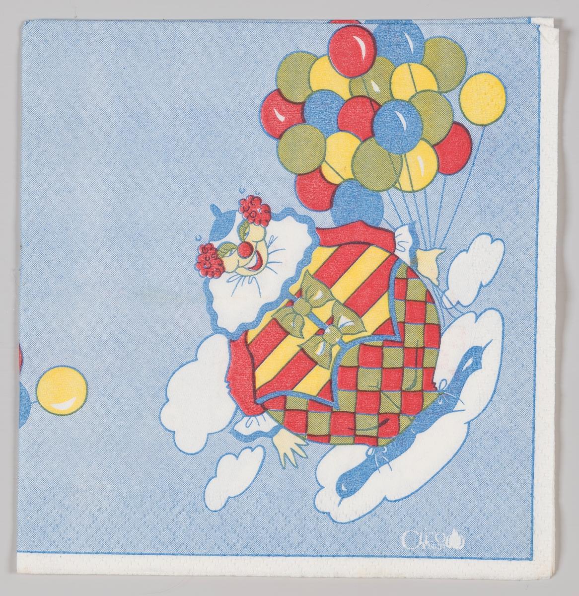 En klovn med masse ballonger står på en sky.