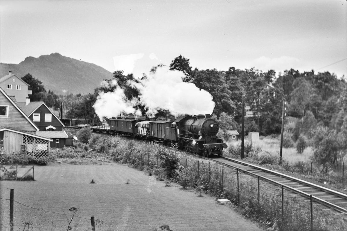 Godstog fre Bergen retning Voss, Gt. 5500, ved Paradis. Toget trekkes av damplokomotiv type 33a nr. 300.