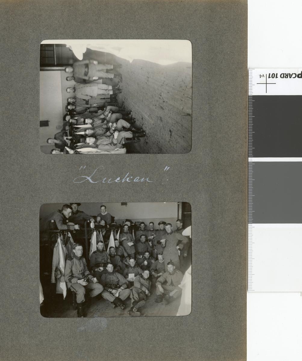 """Text i fotoalbum: """"Vinterövningarna vid Umeå 1916. Luckan."""""""