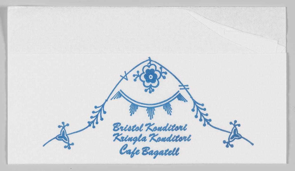 Stråmønster og rekklametekst for Bristol Konditori, Kringla Konditori og Cafe Bagatell (alle i Trondheim).  Samme motiv på MIA.00007-004-0070.