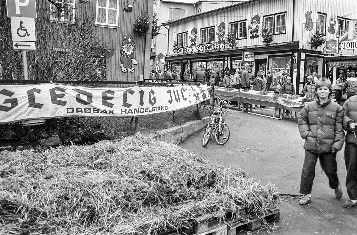 60 m lang julekake og julegateårning i Drøbak. Julenissedamene serverer grøt. Willy Johansen, Julehuset i Drøbak.