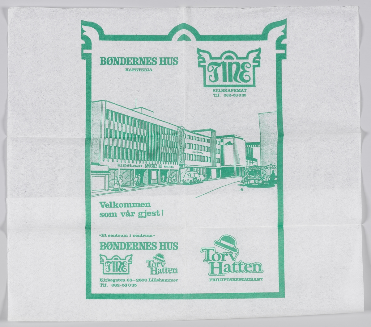 En tine med reklametekst en tegning av bygningen som huser kafeteriaen Bøndernes Hus i Lillehammer.